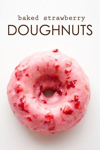 baked strawberry doughnuts with strawberry glaze