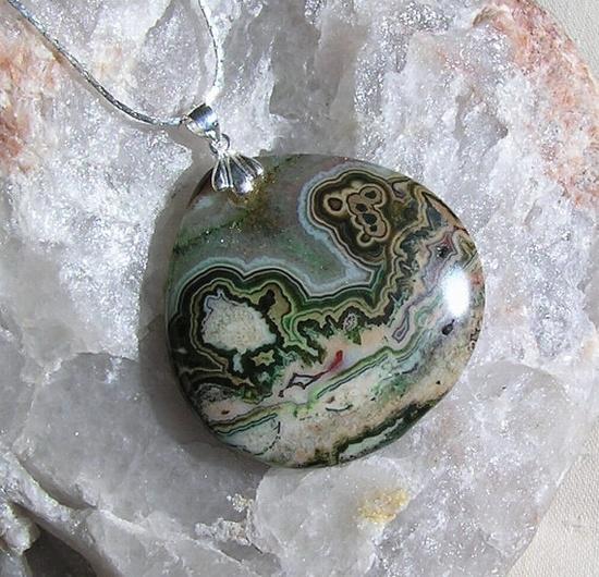 Ocean Jasper Crystal Gemstone Pendant  OOAK by SunnyCrystals, £12.00
