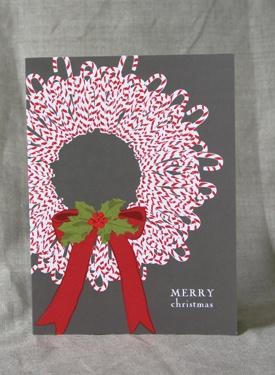 Candy Cane Wreath Christmas Cards