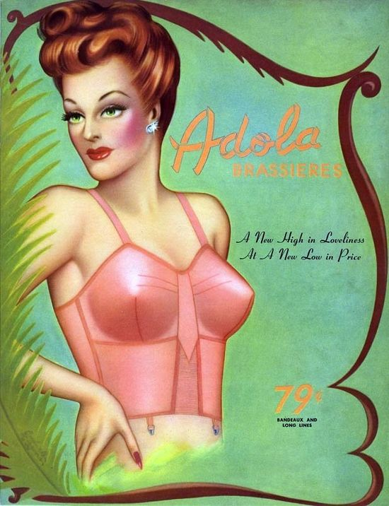 This has to be one of the most beautifully illustrated vintage undergarment ads I've ever encountered. #vintage #bra #lingerie #ad #1940s #illustration #beautiful