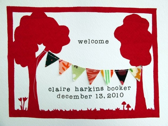 welcome - new baby custom print - magenta and brown. $27,00, via Etsy.