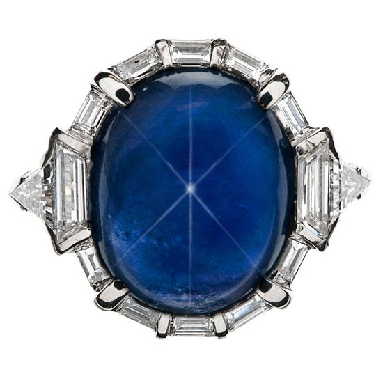 Burma Star Sapphire Art Deco Ring, Art Deco 1930's