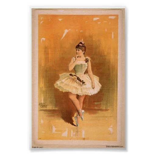 Vintage Ballerina Painting Posters