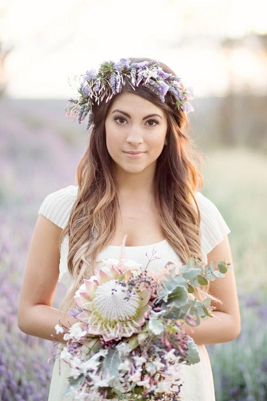 Lovely lavender crown + wild, protea bouquet