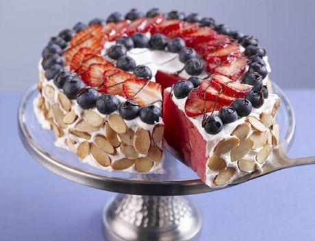 Patriotic watermelon almond tart