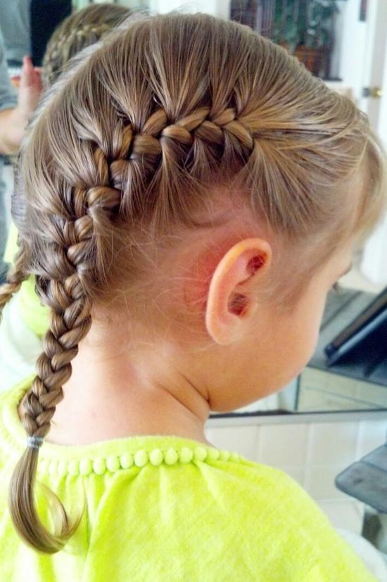 Toddler Hair: Double french #handmade journal #handmade jewelry designers #french braid #handmade dovetail joints #sew in weave