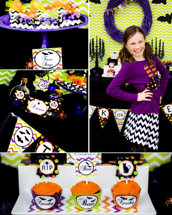 Fabulous DIY green and purple Halloween party decoration ideas.