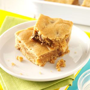 Peanut Butter Blondies Recipe: Yum! I added 6 reeses cups though :)