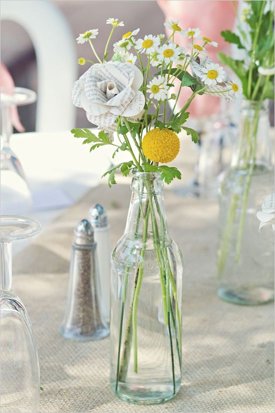mix of newspaper flowers and real flowers!