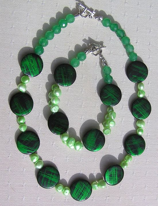 Necklace & Bracelet Set  Mother of Pearl Green by SunnyCrystals, £24.00