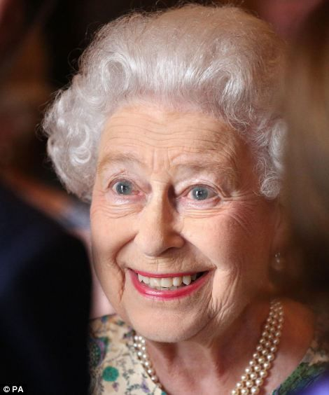 Delight: The Queen told guests at a Buckingham Palace reception she was 'thrilled' at the birth of her great-grandson.
