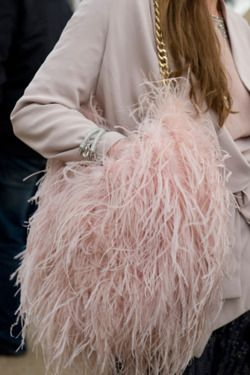 pink feather bag.