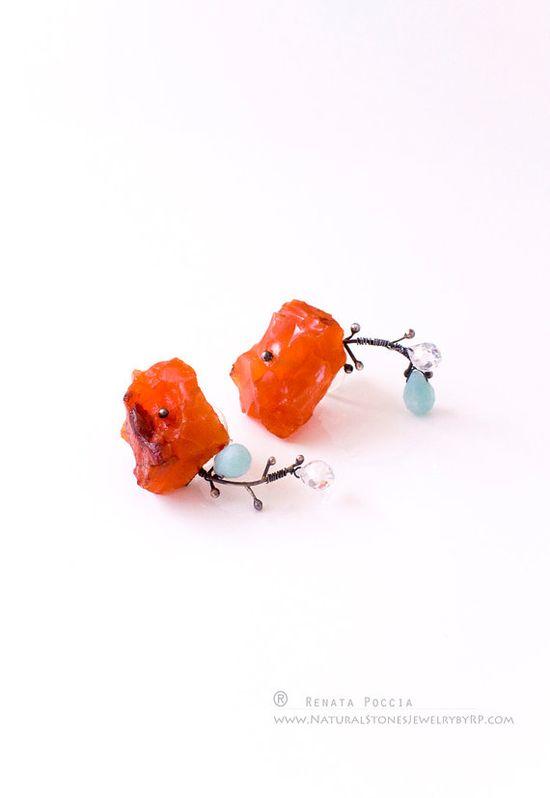 CHAMELEON rough carnelian amazonite earrings - hand made
