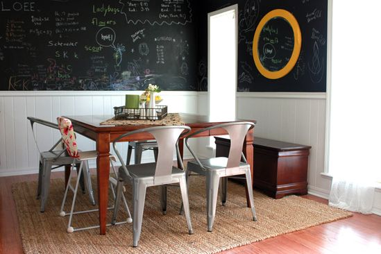 Love the chairs and chalkboard wall in this dining room!! Stacie Bloomfield on abeautifulmess.com