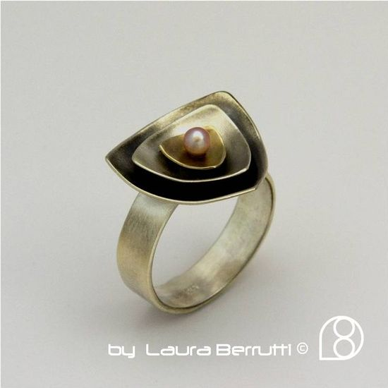 Sterling Silver and 14K Gold Ring with Pink Fresh by LauraBerrutti, $198.00