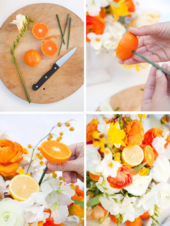 Orange on your flower arrangement, makes the table smell so good. Do this on one of your summer parties. #orange #flowers #zest #party #summer