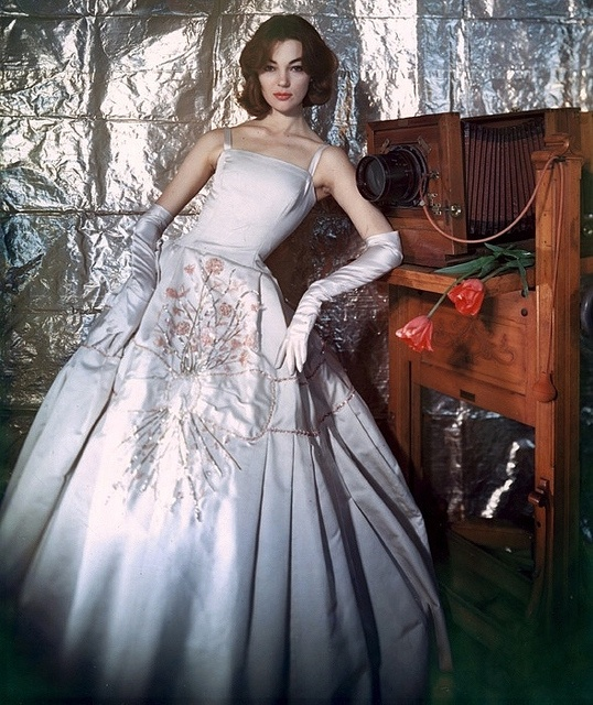 Adore the prop!!! #vintage #fashion #1950s #dress #gown #model #camera