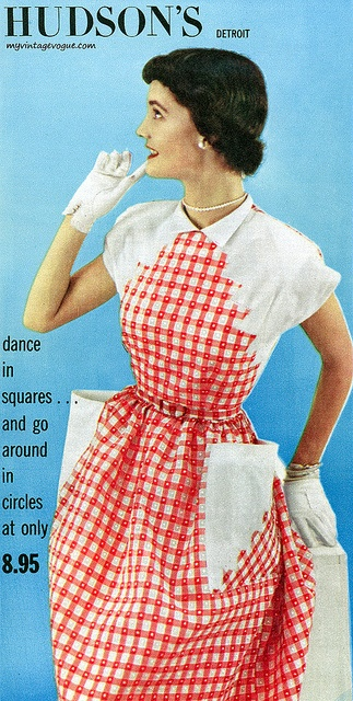 A fabulous red and white 1950s dress with so much pattern interest going on. #vintage #1950s #dress #fashion #red #white #gloves