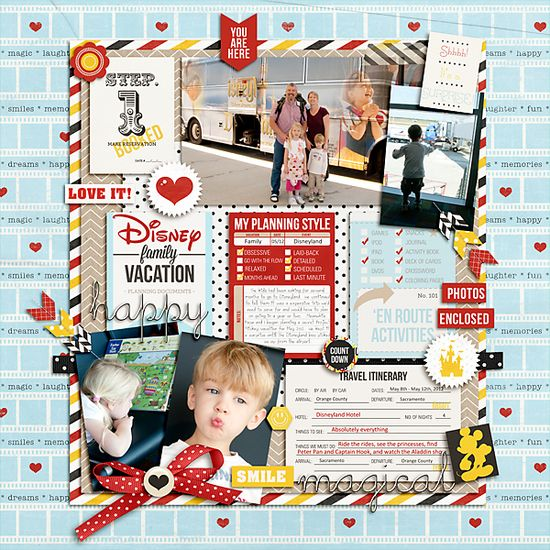 #papercraft #scrapbook #layout * Surprise Disneyland Vacation * - Scrapbook.com