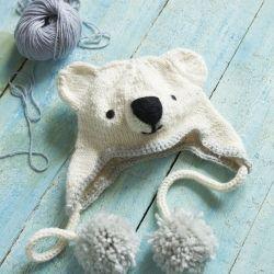 Make this fun knitted polar bear hat - free pattern.