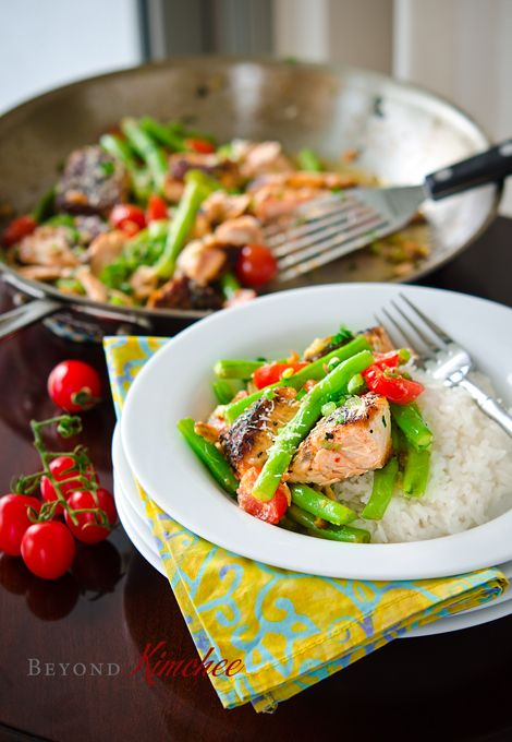 Salmon-with-green-beans-