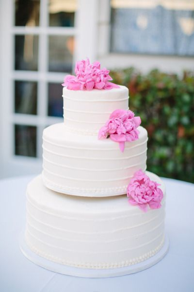 pink peony adorned wedding #cake by vgbakery.com,  Photography by joielala.com  Read more - www.stylemepretty...