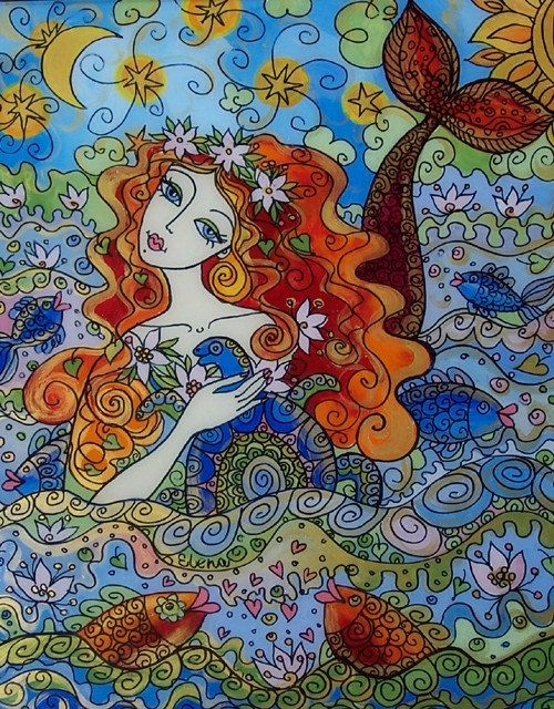 Glass Painting Beautiful Mermaid by elenadiadenko on Etsy, $260.00