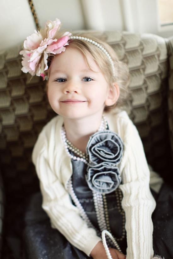cute girl in pearls