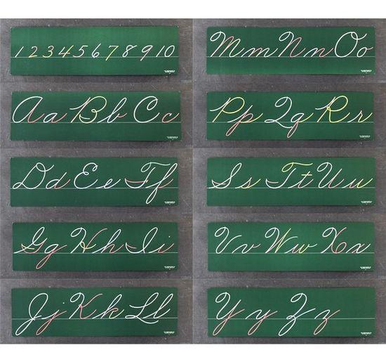 Cursive Lettering Boards, over our blackboards in grammar school