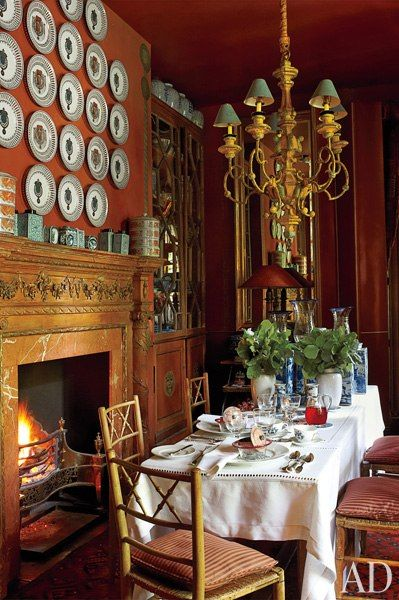 In the breakfast room of an English country house