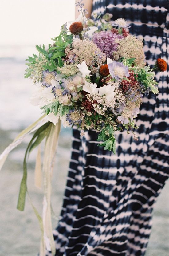 navy and white dress / purple and green bouquet