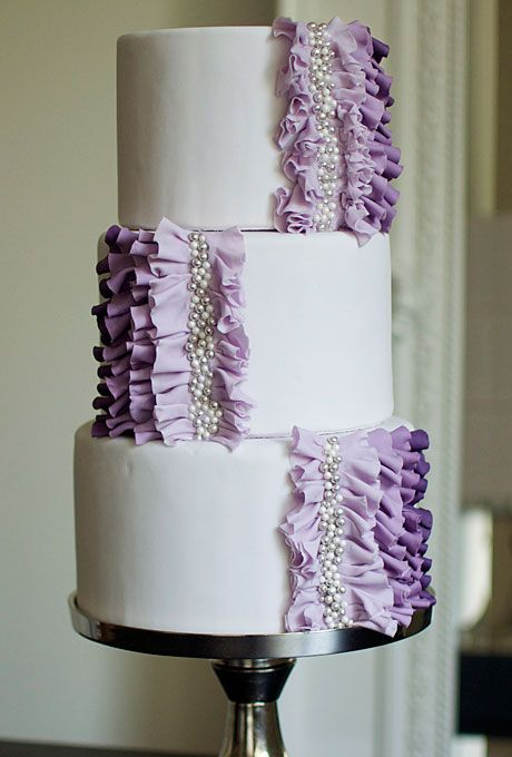Wedding Cake with Purple Ruffles