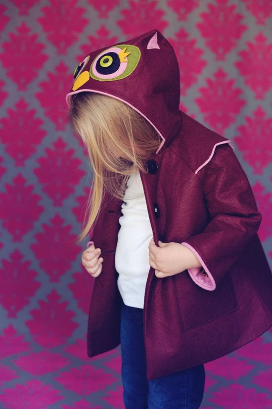 What a little hoot! We just love these little animal-inspired coats for the little ones by littlegoodall!