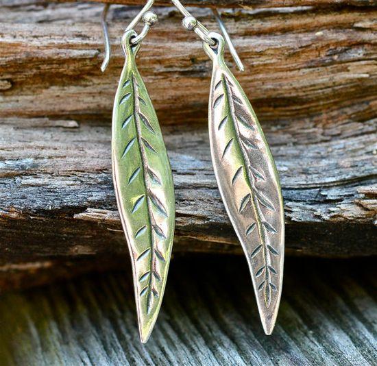 Simple Sterling Earrings Shiny Leaf Earrings Amy Fine by amyfine