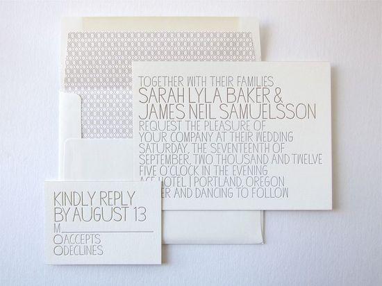 lovely letterpress wedding invites