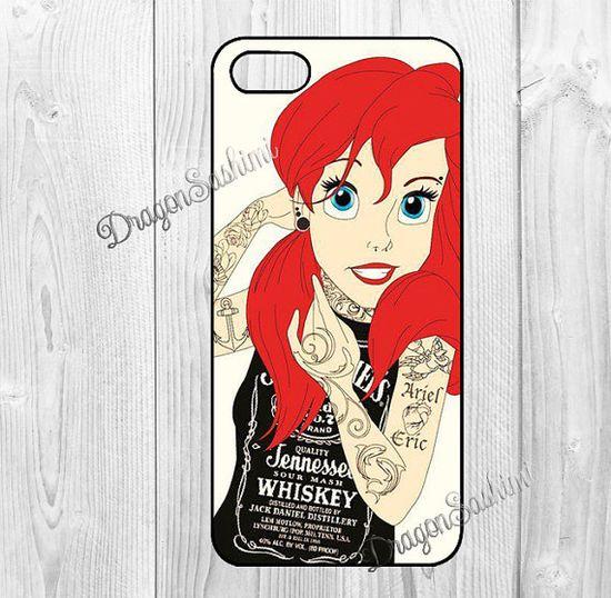 Disney- iphone 5 case iphone 5c case iphone 5s case Hard plastic Soft rubber iphone 5 5c 5s  cover Tattooed Disney Princess