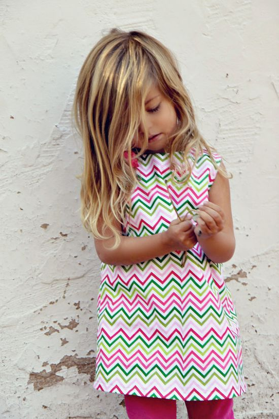 Girls dress - Limited Edition Chevron Print in Lime, Pink, Hot Pink and White.