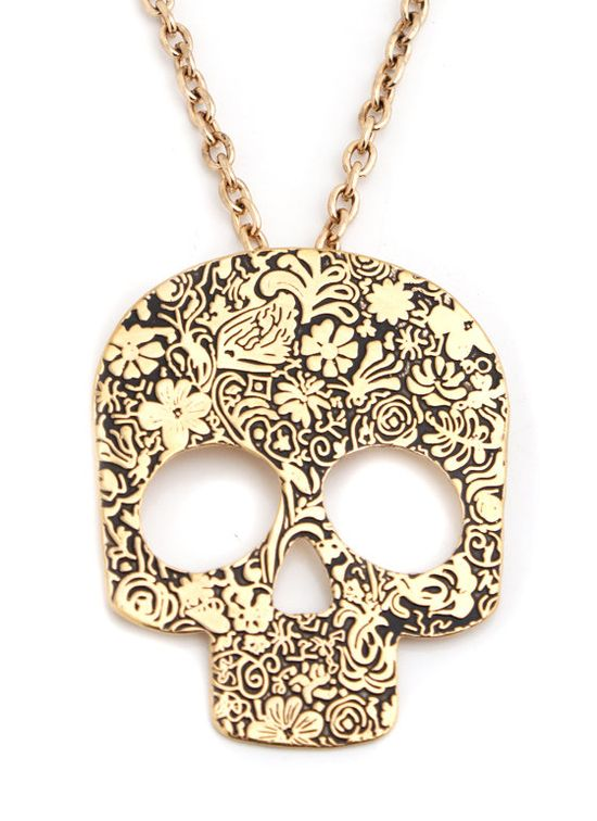 floral swirl skull necklace