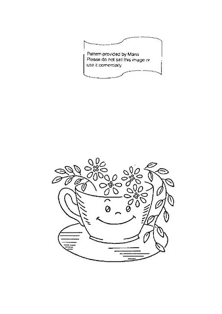 tea cup embroidery pattern