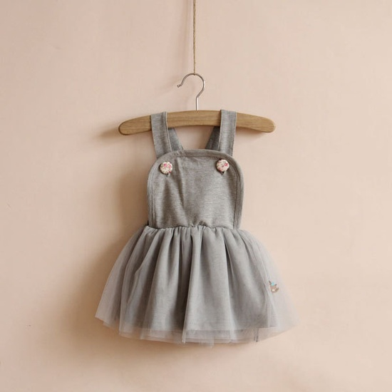 1,2,3,4,5T uspender skirt  girl dress vest dress girl clothes spring fall dress outwear GRAY spring collection. $22.99, via Etsy.