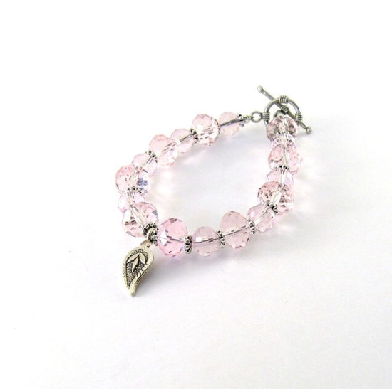 Pink Crystal Bracelet Czech Faceted Crystal In by CinLynnBoutique, $26.00