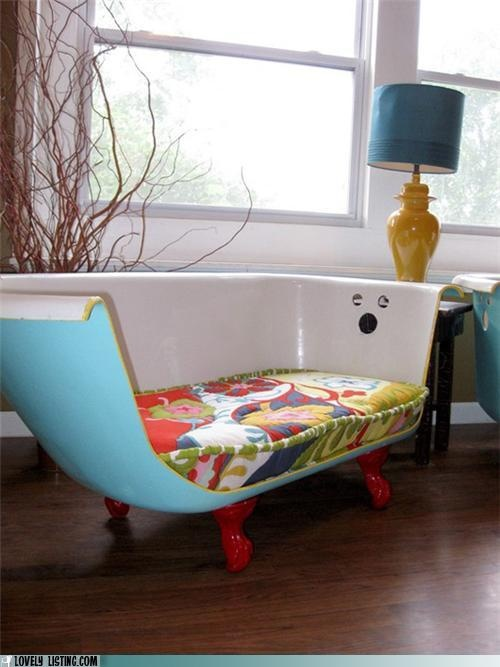 reuse your old tub as a sofa = wicked cool