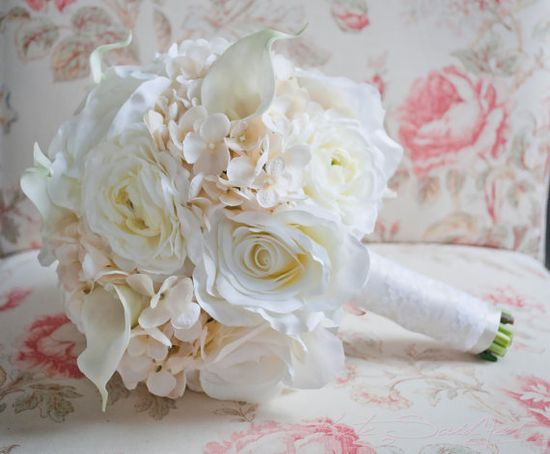 Shabby Chic Wedding Bouquet  Ivory Rose Ranunculus and Hydrangea bouquet by @KateSaidYes, www.katesaidyes.e...