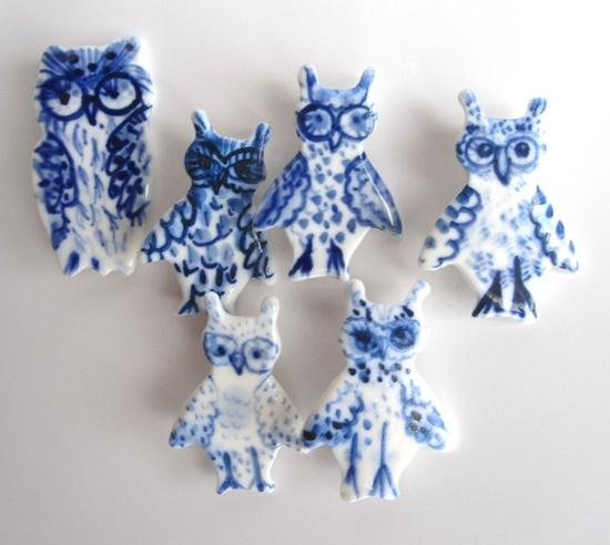 {Dutch Delft Owl Brooch} by Harriet Damave  cobalt blue