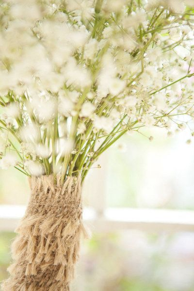 Jute Wrap on Baby's Breath Bouquet #Romantic Life Style