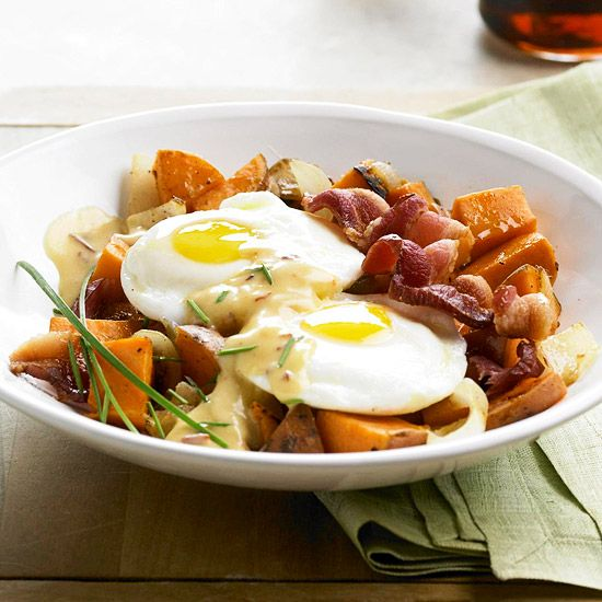 Heart-healthy sweet potatoes make a tasty base for this breakfast hash. More brunch ideas: www.bhg.com/...