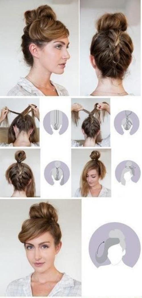 upside down braid bun