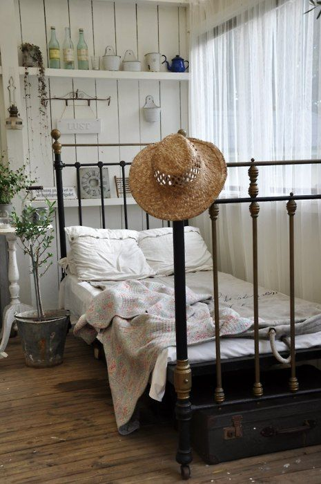 Charming country cottage bedroom, bed, hat, window, walls, etc ~~~~~