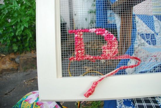 cross stitch on mesh wire