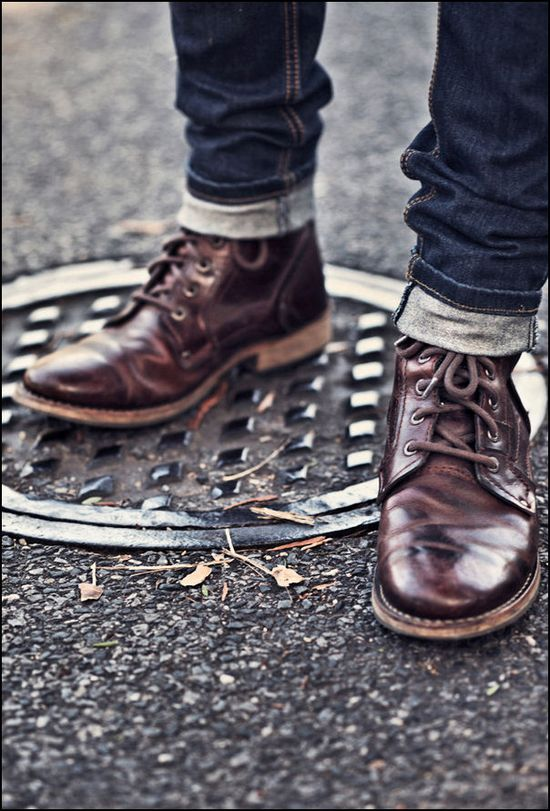Boots and raw denim.